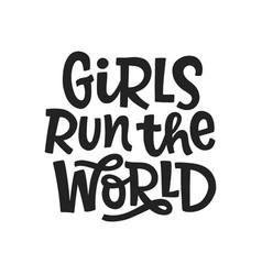 Girls run world typography poster vector