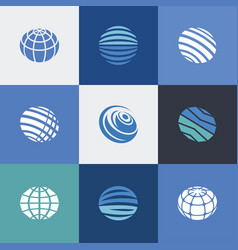 Globe icons blue vector