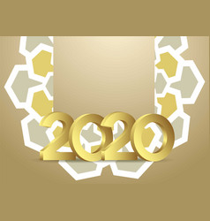 gold 2020 greeting card background template vector image