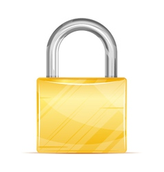 Golden Padlock Icon vector image vector image