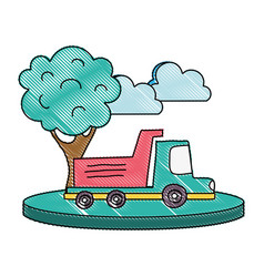 grated dump truck in the city with clouds and tree vector image
