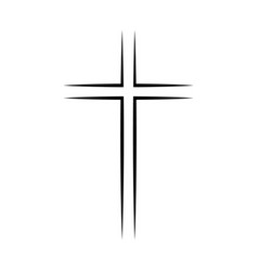 gray christian cross icon simple christian cross vector image