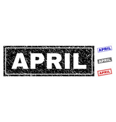 grunge april textured rectangle stamp seals vector image