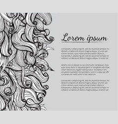Hair doodle elements sketched waves on background vector