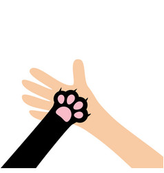 Hand arm holding cat dog paw print leg foot close vector