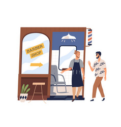 Happy man coming to barber shop friendly small vector