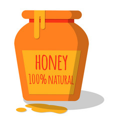 Honey pot with dripping honey vector