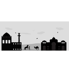 house in the desert and camel vector image