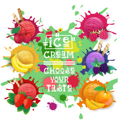 ice cream balls set fruit desserts collection vector image