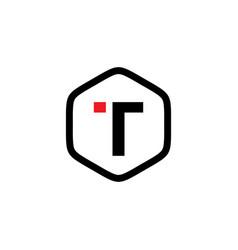 initial t hexagon logo template vector image