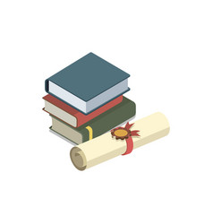 law books isometric 3d elements vector image