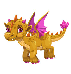 Little cute cartoon baby dragon young funny kind vector