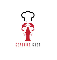 Lobster and chef negative space concept vector