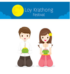 loy krathong festival boy and girl in thai costume vector image