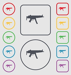 Machine gun icon sign symbol on the round and vector