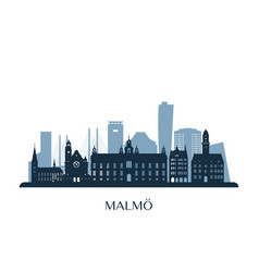 malmo skyline monochrome silhouette vector image