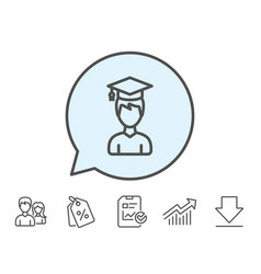 Man in graduation cap line icon education vector