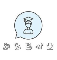 Man in graduation cap line icon education vector