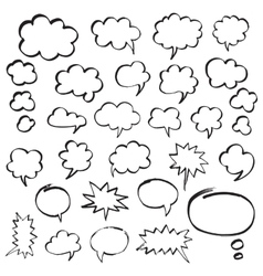 Marker Speech Bubbles and Thought Clouds vector