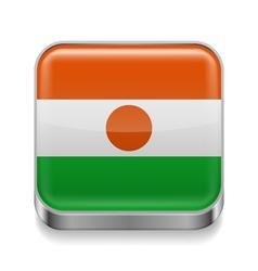 Metal icon of Niger vector