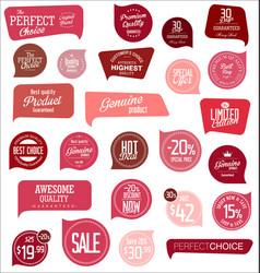 modern red design sale labels and badges vector image