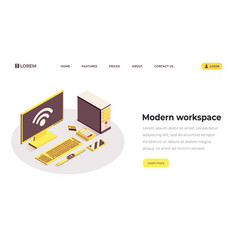 modern workspace isometric landing page template vector image