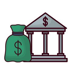 Money bag and bank icon vector