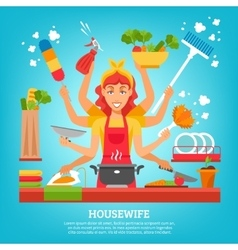 Multitasking Housewife With Eight Hands vector