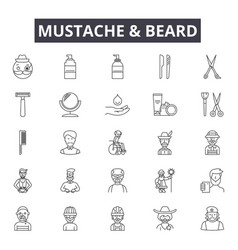 mustache and beard line icons signs set vector image