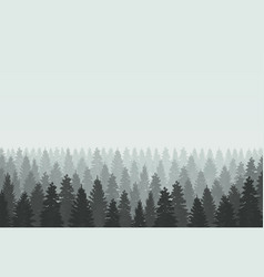 Musterious coniferous forest silhouette template vector