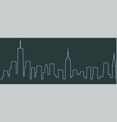 new york single line skyline vector image