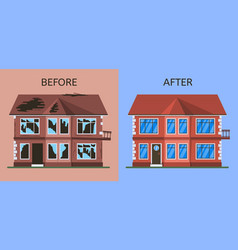 Old broken abandoned building before and after vector