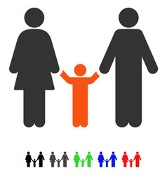 Parents and child flat icon vector