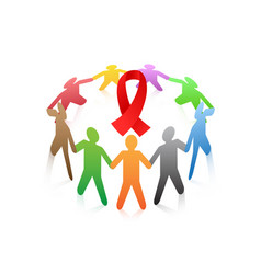 People around the red ribbon aids symbol vector