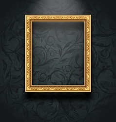 Picture frame on floral texture wall vector image