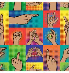 Popart hands fingers gesture human symbols vector