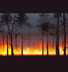 Realistic silhouette wildfire forest fire disaster vector