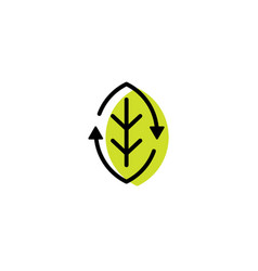 recycled organic recycle leaf eco logo icon line vector image