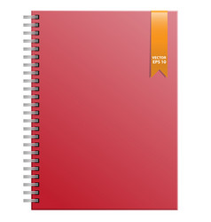 red notebook and gold ribbon vector image