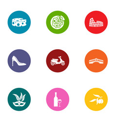 Rom icons set flat style vector