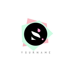 s geometric shapes logo design with pastel colors vector image