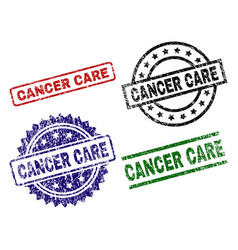 Scratched textured cancer care stamp seals vector