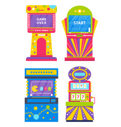 Set colorful game machines arcades vector