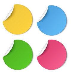 set glaring color round paper stickers vector image