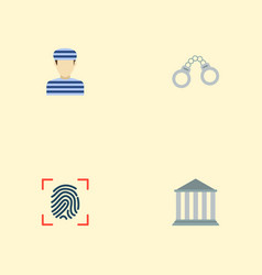 Set of crime icons flat style symbols with convict vector