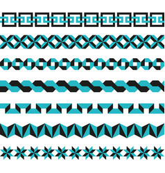 set of geometric borders in two colors vector image