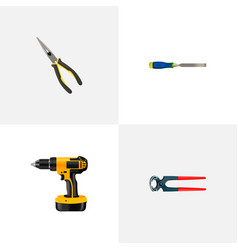 set of instruments realistic symbols with pincers vector image