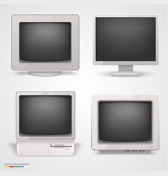 set of retro computers vector image
