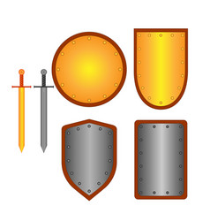 Set of signs shield and sword 2408 vector