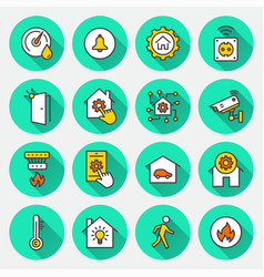 smart home flat icons with long shadow vector image